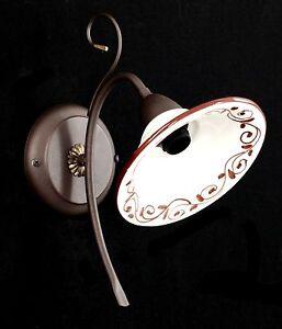 Applique-Stile-Classico-In-Ferro-Battuto-E-Ceramica-Decorata-A-1-Luce-OL-730-1-A