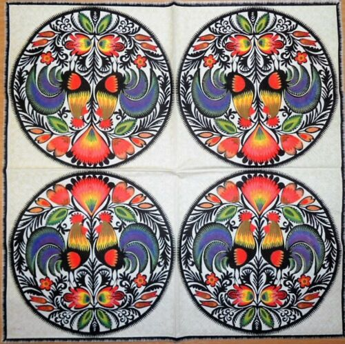 4 x SINGLE PAPER NAPKIN TABLE FLOWER folklore rooster  DECOUPAGE CRAFTING125