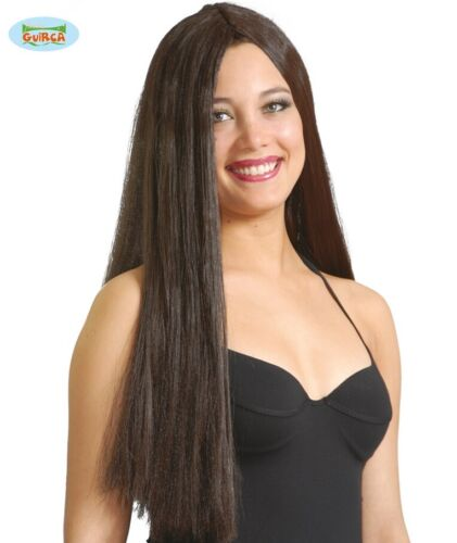 Ladies Long Fancy Dress Wig Brown Hippy Wig New fg