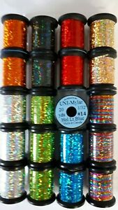 20-SPOOL-of-UNI-MYLAR-assorted-colors-amp-size-FLY-TYING-HOLOGRAPHIC-TINSEL