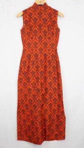 Vintage1960s 70s Maxi Dress Paisley Red/orange Siz