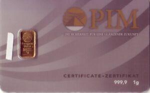 1 G Lingots D'or Pim 1 G 999,9 Gold Lingots Soudés-afficher Le Titre D'origine C9no6cry-08005809-743346558