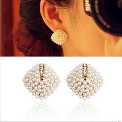 TIAU Fashion Temperament Faux Pearl Earrings Geometry Evening Party Weeding Stud