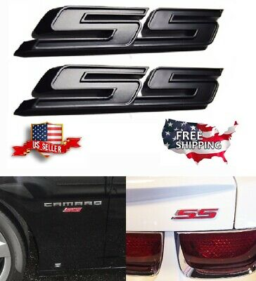 TWO FLAT BLACK SS Badge Fender Trunk Emblem Decal Camaro Impala Cobalt
