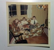 Vintage 60s PHOTO Adorable Children Sitting On Retro Floral Sofa W/ Baby Cousin
