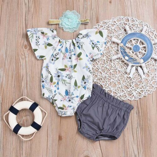 Baby Girl Floral Romper Shorts Pants Headband Three-piece Outfits Clothes Suit