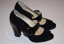 Michael Kors Black Suede Peep Toe Heels Women Size 7 M, Nice