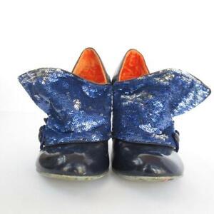 Irregular-Choice-Shoes-Flick-Flak-Sequin-Navy-Blue-Buttons-Orange-3-5-UK-36-EUR