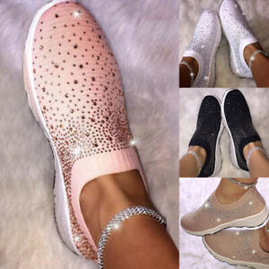 Fashion-Women-Crystal-Flying-Woven-Sneakers-Casual-Slip-On-Loafers-Running-Sport
