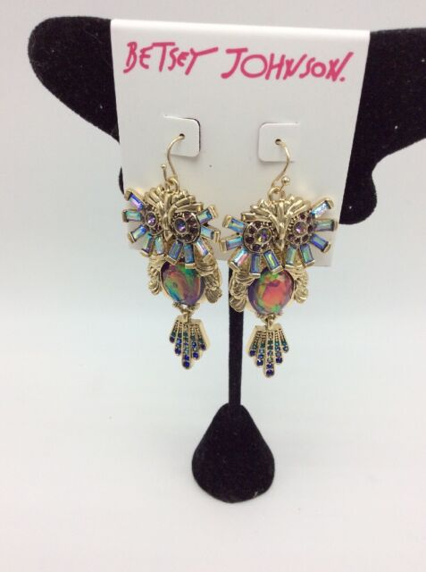 48 Betsey Johnson Multi Stone Owl Drop Earrings Jb 205