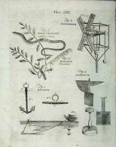 Old Antique Print 1801 Anchor Anemoscope Anguis Encyclopaedia Britannica 19th