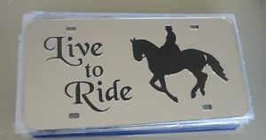 Live-to-Ride-Horse-Mirror-License-Plate-Black-on-Chrome-Brand-New