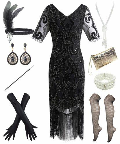 1920s Women Gatsby Vintage Sequin Flapper Fringe Party Dress