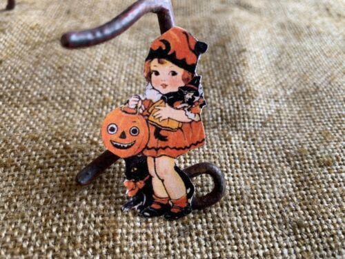 Vintage Repro Girl Witch Doll JOL Halloween Cardstock Decoration,U Choose Size