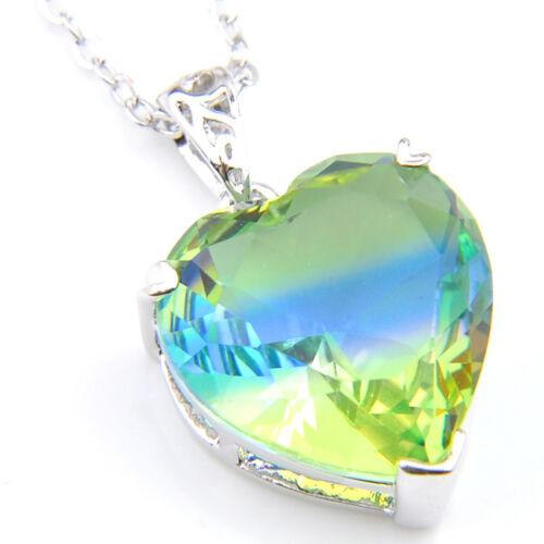 43 Ct Love Heart Women Wedding GIFT Ocean Blue Topaz Gem Silver Necklace Pendant