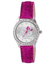 Hello Kitty Girls Pink Glitter Watch Analogue Silver Dial & PU Strap HKT3150312