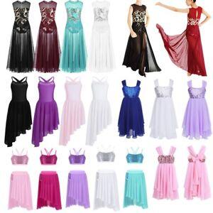 Girls-Child-Sequin-Lyrical-Dance-Dress-Kids-Ballet-Latin-Maxi-Costume-Gymnastics