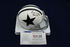 Bob-Lilly-Signed-Auto-Cowboys-White-T-B-Mini-Helmet-W-HOF-80-SCH-Authentic