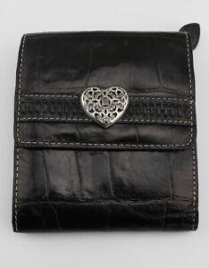 BRIGHTON-Black-Croc-Embossed-Leather-Silver-Heart-Emblem-Trifold-Wallet