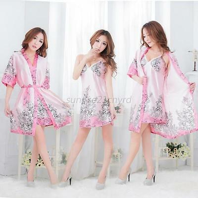 3Pcs Women Sexy Silk Robe Babydoll Sleepwear Lingerie Nightdress Pajamas Sets