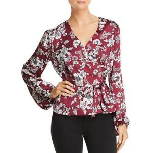 Bardot-Womens-Jolie-Floral-Print-V-Neck-Bishop-Sleeves-Wrap-Top-Blouse-BHFO-5198