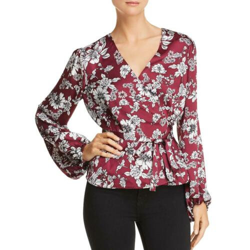 Bardot Womens Jolie Purple Floral Print V-Neck Wrap Top Blouse XS 4 BHFO 2074
