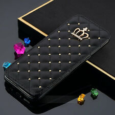 Crown Diamond Bling Wallet Card Flip Leather Cover Case For Samsung Galaxy S8 S7