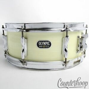 Premier-Olympic-14x5-5-034-White-Silk-Snare-Drum-8Lug-Vintage-60s-3Ply-Birch-Chrome