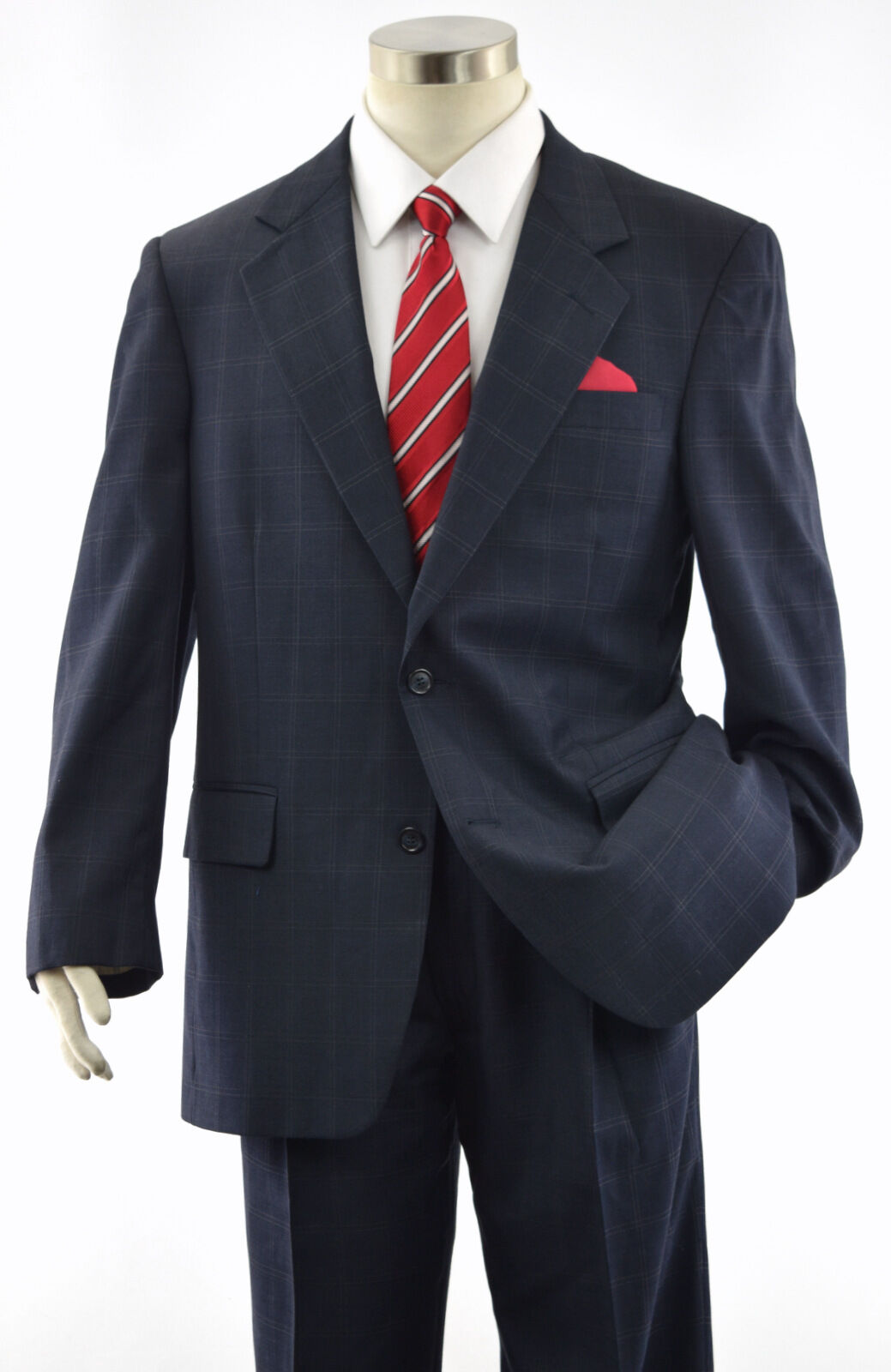JOS A BANK Men's Navy bluee Windowpane 2-Btn SIGNATURE Wool Suit  40R USA MADE