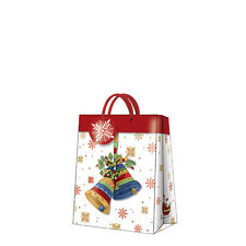 Christmas Printed Paper Gift Present Bag BELLS OF JOY Snowman Medium / D