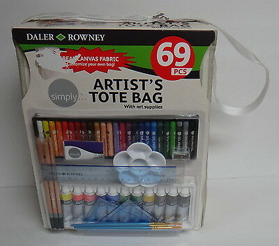 DALER ROWNEY 69 PCS ARTIST'S TOTE BAG WITH SUPPLIES OIL ACRYLIC PENCILS BRUSHES+