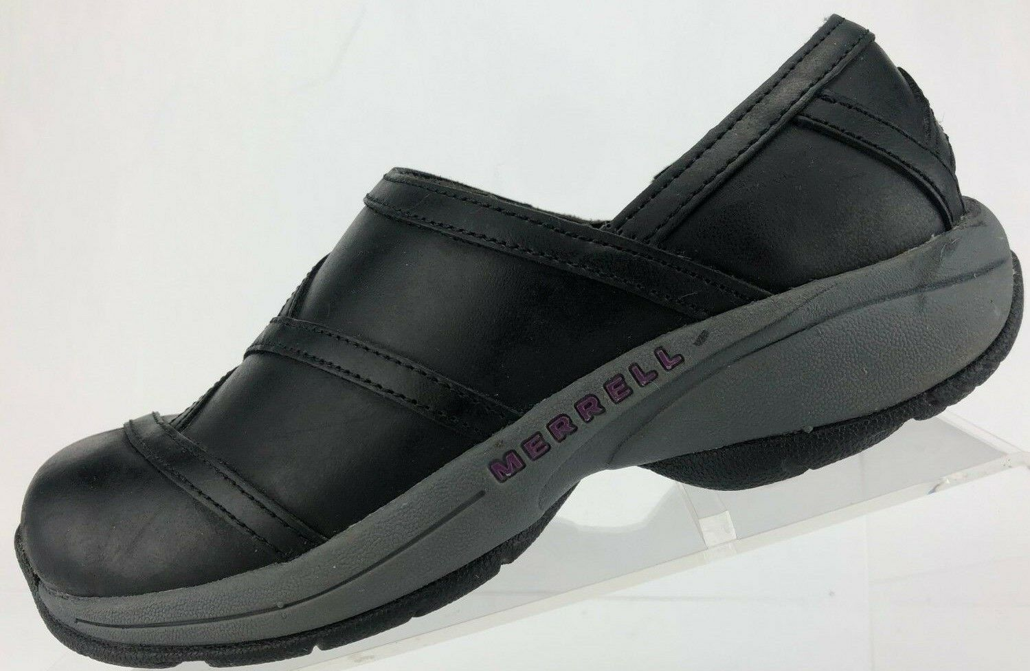 Merrell Waling Loafers Primo Patch Bug Black Leather Slip On Flat Clogs Womens 6