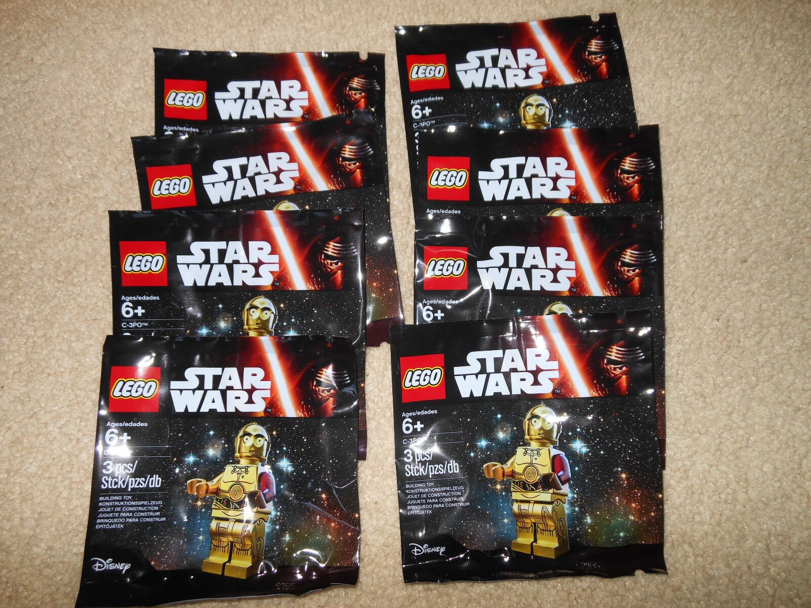 Lego LOT OF 8 Star Wars The Force despierta rara rojo brazo C-3PO 5002948 Nuevo Sellado