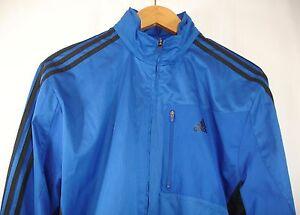 e0c74ffde4b8 Adidas Mens Blue Black 3 Stripe Full Zip Light Lined Hood Track Top ...