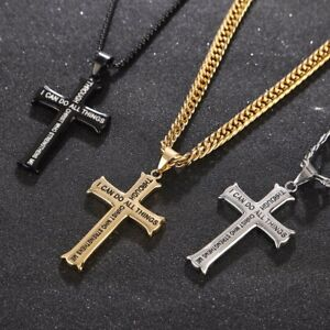 Men-039-s-Stainless-Steel-Cross-Pendant-Necklace-Bible-Verse-With-Curb-Chain-24-039-039