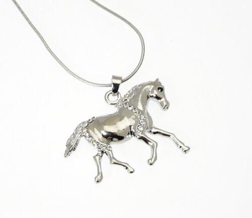 Plata Metal De Color Colgante de Caballo//Pony Con Efecto de Cristal Gemas en Serpiente Cadena