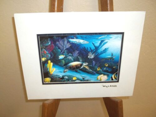 By Wyland  Ready To Frame Gold Foil Stamp Hawaiian Artist Turtle
