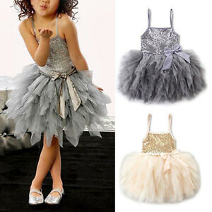 Girls-Kids-Toddler-Baby-Sequins-Princess-Birthday-Party-Pageant-Tutu-Tulle-Dress
