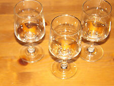 3 Port / Wine / Juice Glasses Gold Rim Greek / Cypriot Design 12.5cm Tall.