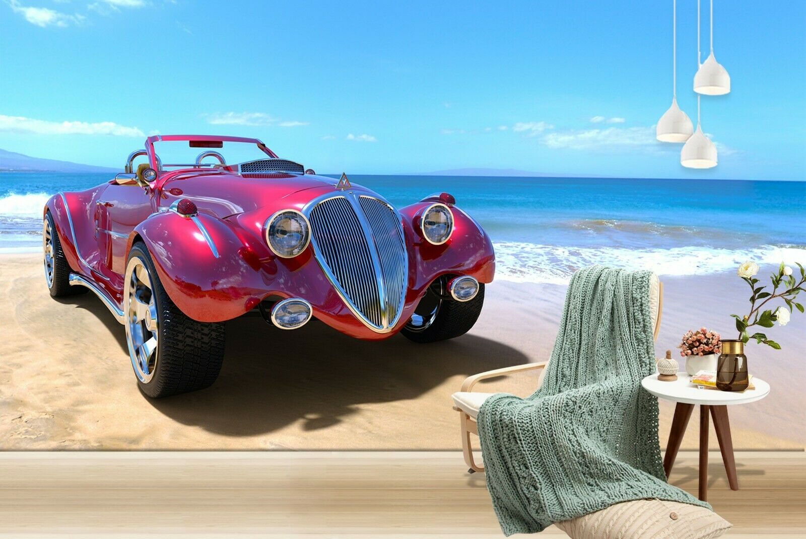 3D Seaside rot Car I152 Transport Wallpaper Mural Sefl-adhesive Removable An
