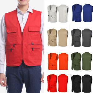 AU-Men-Sleeveless-Multi-Pocket-Fishing-Outdoor-Vest-Gilet-Waistcoat-Jacket-Coat