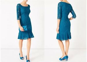BNWT-039-s-18-Jacques-Vert-Teal-Turquoise-Blue-Lace-Flute-Hem-3-4-sleeve-Dress-129