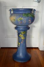 "Roseville Pottery ""Fushia"" Jardiniere & Pedestal # 645-10"" - RARE Raised Letters"