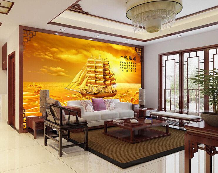 3D goldenes Meer Boot 7 Tapete Wandgemälde Tapete Tapeten Bild Familie DE Summer