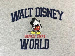 Disney-World-Mickey-Mouse-T-Shirt-LARGE-Gray-Varsity-Style-Raised-Lettering