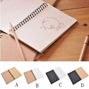 Retro Spiral Bound Coil Sketch Book Blank Notebook Kraft Sketching Paper Y