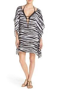 ViX-Swim-Anita-Zebra-Stripe-Camila-Caftan-Swimsuit-Cover-Up-Size-Small-NWT