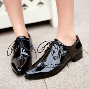 db24f08e14b Image is loading Pointed-Toes-Wingtip-Oxfords-Ladies-Flats-Faux-Leather-