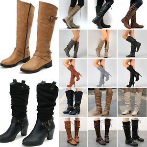171fecfe618 Womens Ladies Winter Mid Calf Knee High Boots Wide Leg Stretchy Flat ...