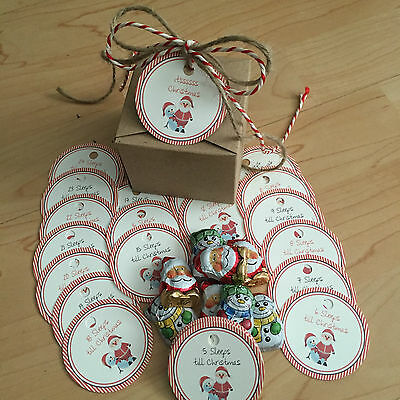 25 Vintage/Shabby Chic round Christmas Advent  Calendar Tags sweets